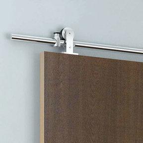 Stainless Steel -304  Grade- Decorative Sliding Rolling Barn Door Hardware Kit for Single Wood Doors DOOR NOT INCLUDED