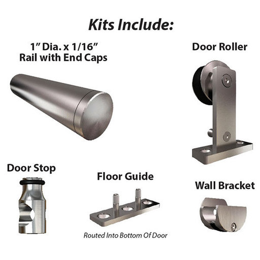View a Larger Image of  Stainless Steel -304  Grade- Decorative Sliding Rolling Barn Door Hardware Kit for Single Wood Doors DOOR NOT INCLUDED