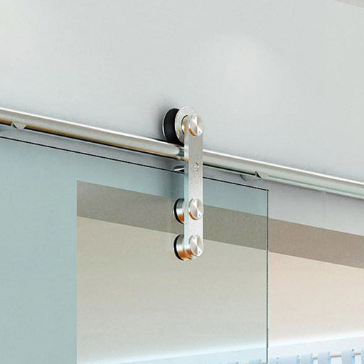 View a Larger Image of  Stainless Steel -304  Grade- Decorative, Sliding-Rolling Door Hardware Kit for Single Glass Doors  DOOR NOT INCLUDED