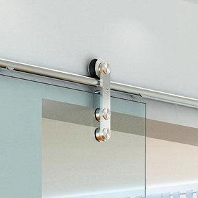 Stainless Steel -304  Grade- Decorative, Sliding-Rolling Door Hardware Kit for Single Glass Doors  DOOR NOT INCLUDED