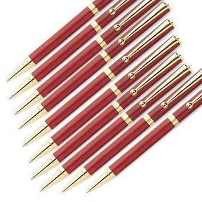 7mm Slim Style Solid Clip Ballpoint Pen Kit - Gold 10 Pieces