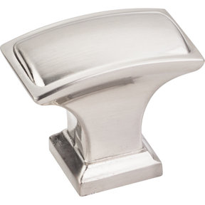 """Annadale Rectangle Pillow Top Knob, 1-1/2"""" O.L., Satin Nickel"""