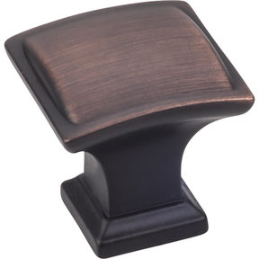 """Annadale Square Pillow Top Knob, 1-1/4"""" O.L., Brushed Oil Rubbed Bronze"""