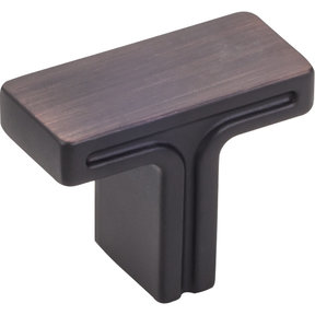 """Anwick Rectangle Knob, 1-3/8"""" O.L., Brushed Oil Rubbed Bronze"""