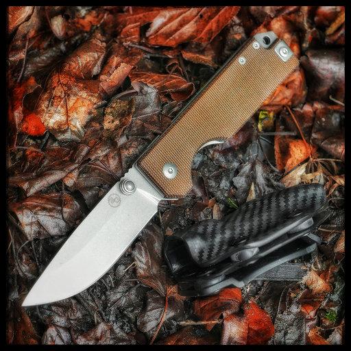 View a Larger Image of Ausus Micarta Brown Folding Knife
