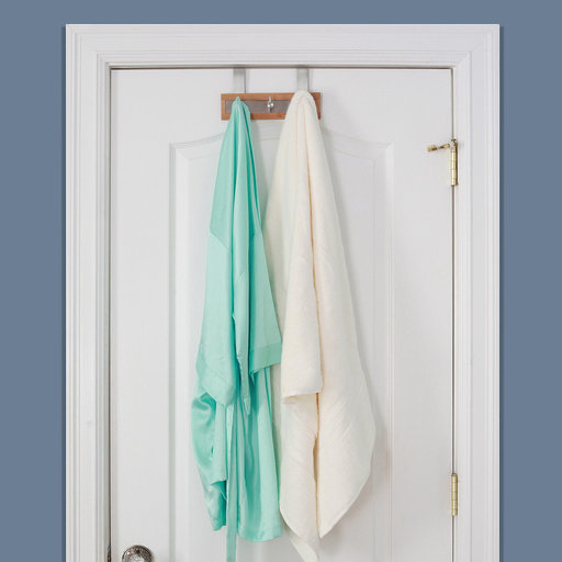 View a Larger Image of Bamboo Wood & Stainless Steel Over The Door Towel Rack, 3 Hooks
