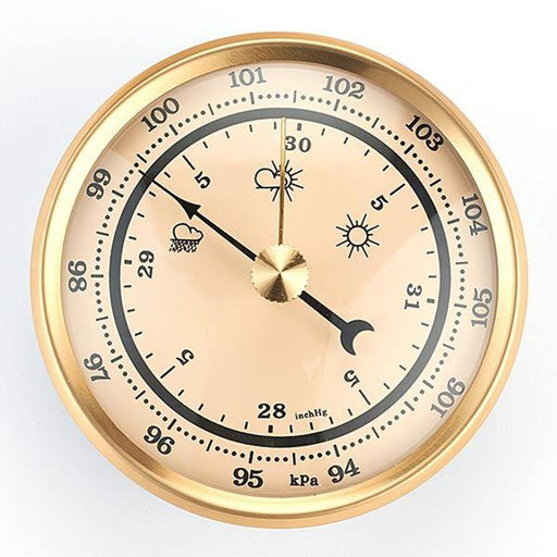 View a Larger Image of Barometer w/Ivory Dial and Brushed Gold Bezel