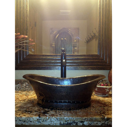 View a Larger Image of Bath Tub Vessel Hammered Copper Sink