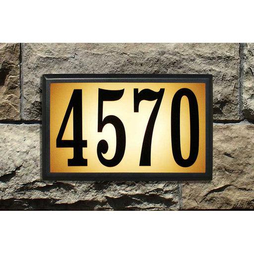 View a Larger Image of Bayside Estate Lighted Address Plaque in Black Frame Color