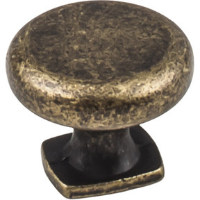 "Belcastel 1 Knob, 1-3/8"" Dia.,  Distressed Antique Brass"