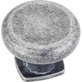 "Belcastel 1 Knob, 1-3/8"" Dia.,  Distressed Antique Silver"