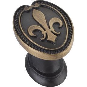 """Bienville KNob, 1-5/16"""" O.L., Antique Brushed Satin Brass"""