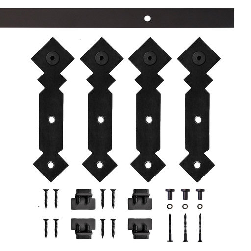 View a Larger Image of Black Double Diamond Rolling Double Furniture Door Kit with 4-ft. Rail