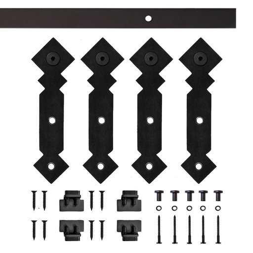 View a Larger Image of Black Double Diamond Rolling Double Furniture Door Kit with 6-ft. Rail