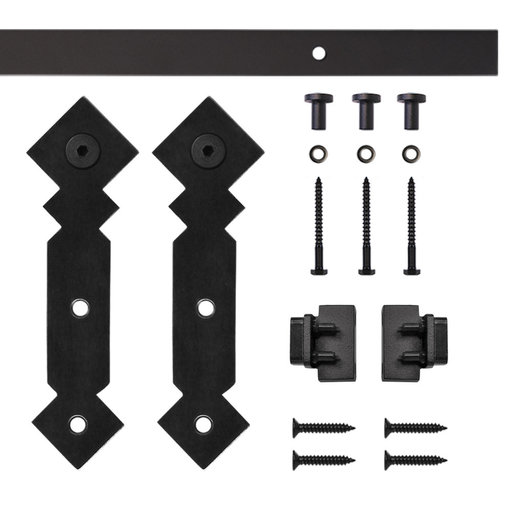 View a Larger Image of Black Double Diamond Rolling Single Furniture Door Kit with 4-ft. Rail