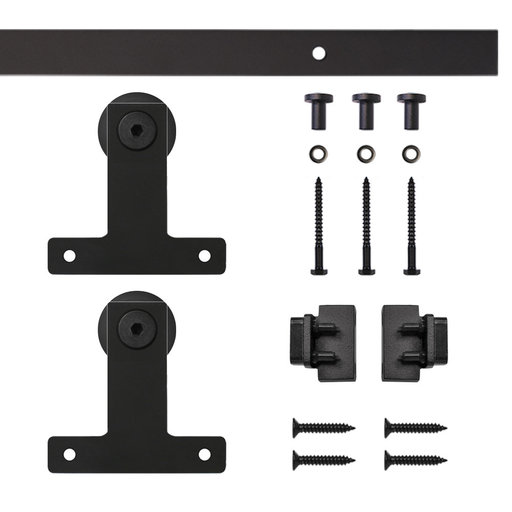 View a Larger Image of Black Front Mount Rolling Single Furniture Door Kit with 4-ft. Rail