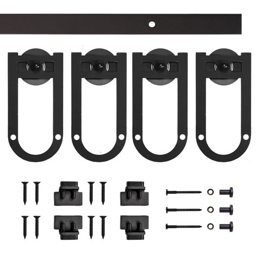 View a Larger Image of Black Long Horsehoe Rolling Double Furniture Door Kit with 4-ft. Rail