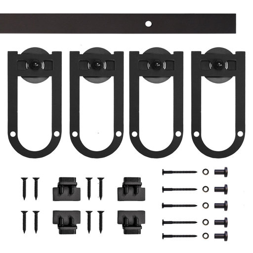 View a Larger Image of Black Long Horsehoe Rolling Double Furniture Door Kit with 6-ft. Rail