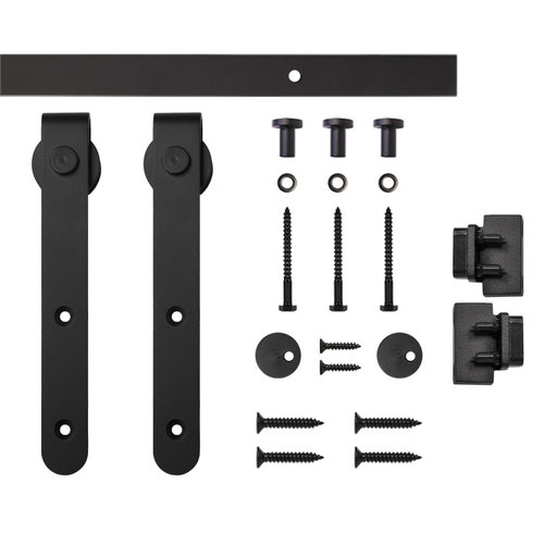 View a Larger Image of Black Round Hook Rolling Single Furniture Door Kit with 4-ft. Rail