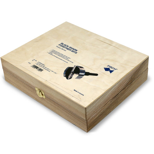 View a Larger Image of Black Shark Forstner Bit 16 Pcs Set, Imperial and Metric, In Wooden Box