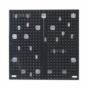 Black Steel Square Hole Pegboards with 30 pc. LocHook Assortment & Hanging Bin System