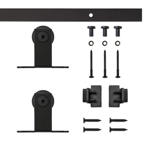View a Larger Image of Black Top Mount Rolling Single Furniture Door Kit with 4-ft. Rail
