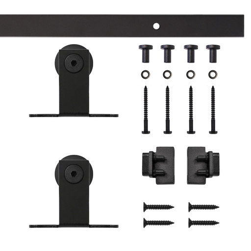 View a Larger Image of Black Top Mount Rolling Single Furniture Door Kit with 5-ft. Rail