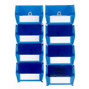 4pk each - Small & Medium Blue Hanging Bin & BinClip Kits