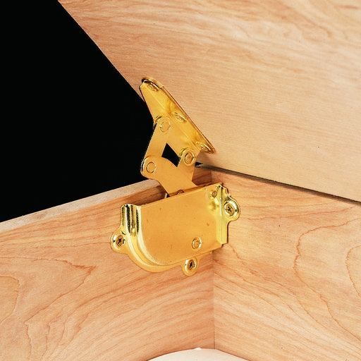 View a Larger Image of Brass Hinge with Built-in Lid Support Pair