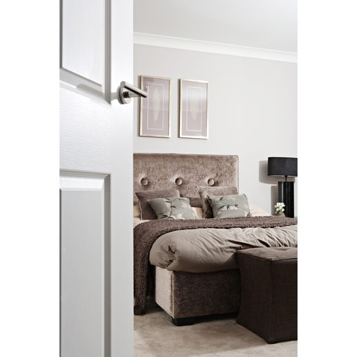 View a Larger Image of Bridwell Series Straight Levers Satin Chrome Left or Right Passage