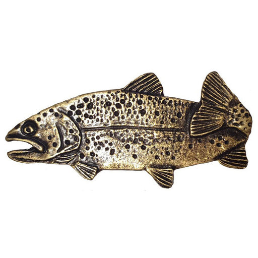 """View a Larger Image of 2"""" Long Trout Pull Left Facing, Antique Brass, Model 096AB"""