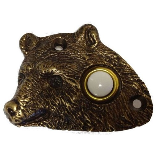 View a Larger Image of Bear Head Door Bell, Pewter, Model 925P