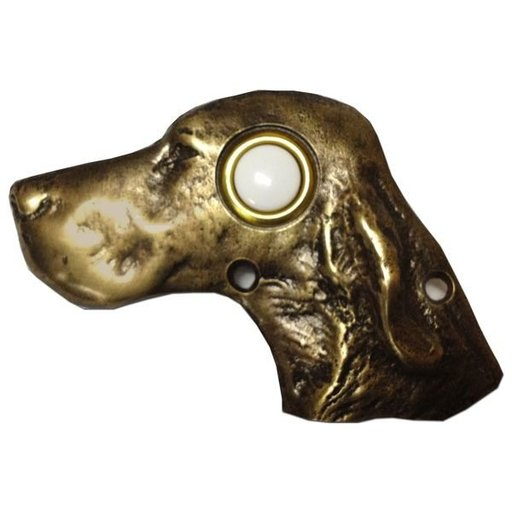 View a Larger Image of Dog Head Door Bell, Pewter, Model 924P