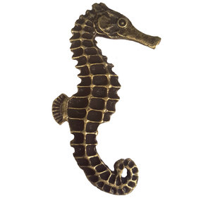 Large Seahorse Pull, Right, Antique Brass, Model 234AB