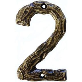 LHN2-AB Log House Number 2, Antique Brass, 1 piece