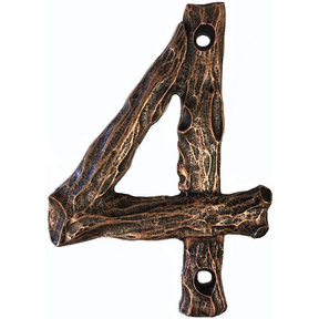 LHN4-AC Log House Number 4, Antique Copper, 1 piece
