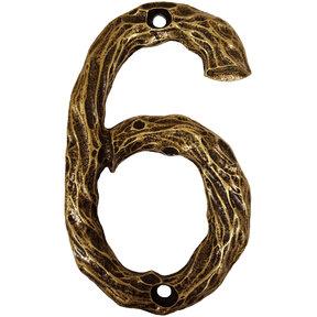 LHN6-AB Log House Number 6, Antique Brass, 1 piece