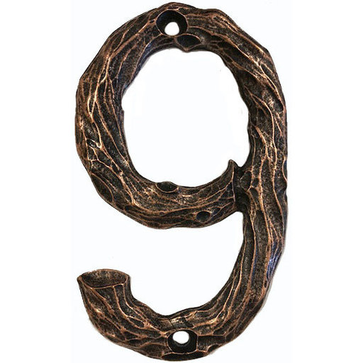 View a Larger Image of LHN9-AC Log House Number 9, Antique Copper, 1 piece