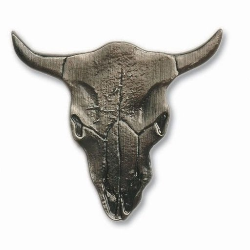 View a Larger Image of Steer Skull Pull, Antique Brass, Model 045AB