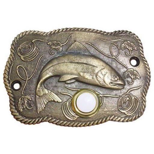 View a Larger Image of Trout Scene Door Bell, Pewter, Model 914P