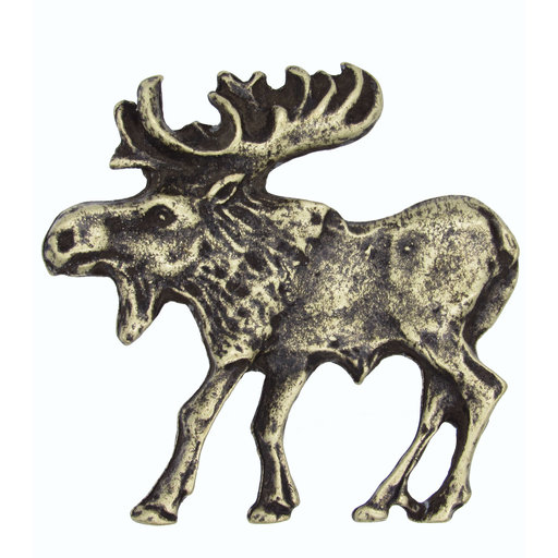 View a Larger Image of Walking Moose Pull, Left, Antique Brass, Model 002AB