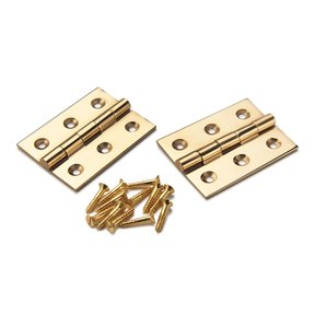 """Cabinet Hinge Polished Brass 2"""" x 1-1/2"""" Pair"""