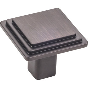 """Calloway Large Square Knob, 1-1/4"""" O.L., Brushed Oil Rubbed Bronze"""