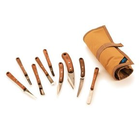 Carving Tool Set with Canvas Tool Roll - 9 Piece