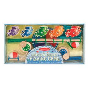 Catch & Count Wooden Fishing Game, Developmental Toy, 2 Magnetic Rods