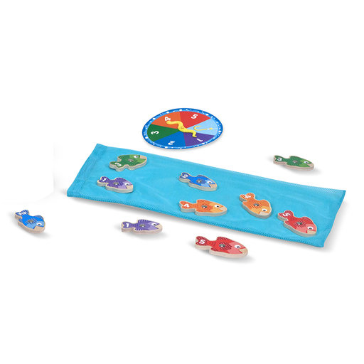 View a Larger Image of Catch & Count Wooden Fishing Game, Developmental Toy, 2 Magnetic Rods