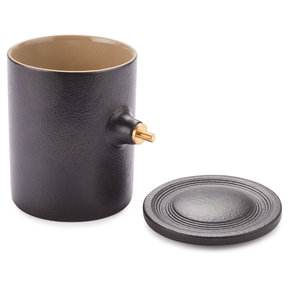Ceramic Coffee Mug Turning Kit w/Ceramic Lid, 12oz. - Black & Tan