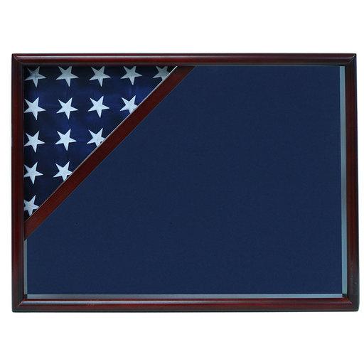 View a Larger Image of Ceremonial Flag Corner Case, Cherry, Blue Velvet background