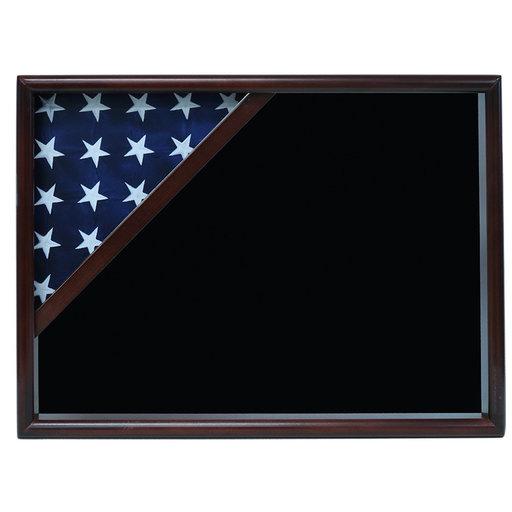 View a Larger Image of Ceremonial Flag Corner Case, Walnut, Black Velvet background