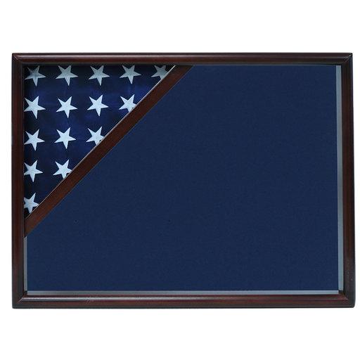 View a Larger Image of Ceremonial Flag Corner Case, Walnut, Blue Velvet background